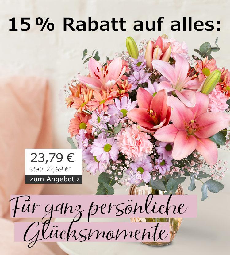 15 % Rabatt auf alles: Für ganz persönliche Glücksmomente