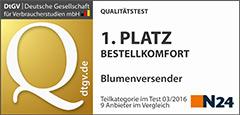 Nur das Beste für Sie: Unser Bestellkomfort wurde von N24 mit dem ersten Platz ausgezeichnet.